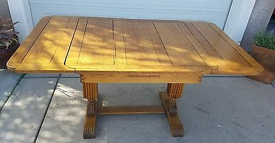 Antique Oak English Pub Table One ,Leaf Tiger Oak