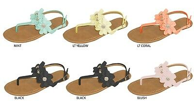 New Wholesale Lot 36 Pairs Ladies Thong Sandal With Jeweled Chiffon Flowers