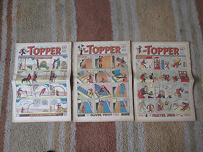 3 TOPPER Comics from the 1950s, no's 140, 251 & 316 - Good Condition.