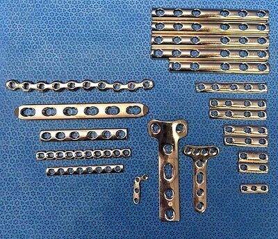 Lot of 21, Assorted Synthes Orthopedic Plates, Surgical, 02.100.110, 244.561 Etc