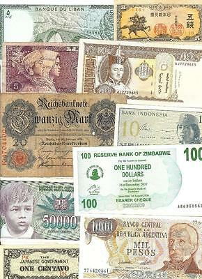 WORLD MIX  1914 - 2007 ~ 10 x PAPER MONEY LOT # 1306 (*-*) MIXED CONDITION