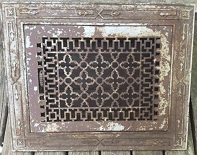Old Vtg Antique Cast Iron Floor Grate And Decorative Frame Heating Vent Vr 10X14