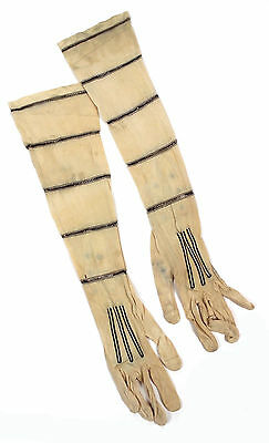 Vintage Gloves Pair of Women's Off White and Black Antique Gloves