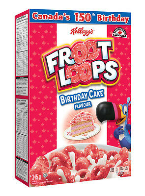 Kellogg's Birthday Cake Flavour Fruit Loops, Limited Edition 345g/12.17oz Box