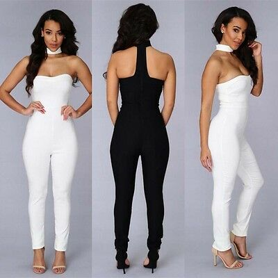 Women's Clubwear Backless Bodycon Romper Playsuit Party Jumpsuit Long Trousers
