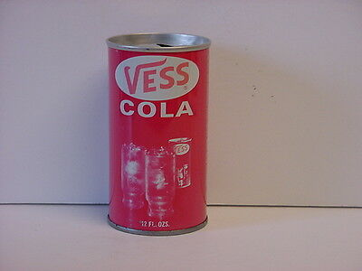 Vintage Vess Cola Straight Steel Pull Tab Top Opened Soda Can