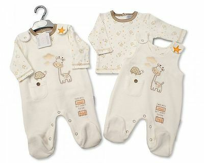 Premature Baby Clothes Boy Girl Tiny Dungarees top outfit cream 5 - 8 lb - 3 mth