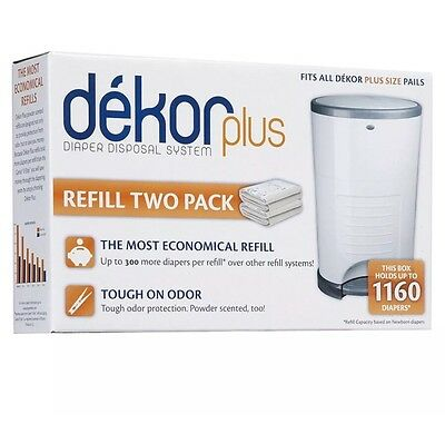 Diaper Dekor Plus Refill 2 Count Baby Supplies Diapers Pail Trash Can Disposal