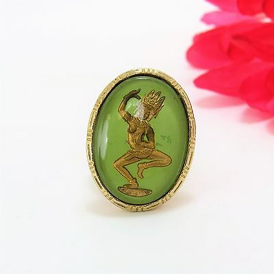 Dancing Celestial Deity Devata Gold Tone Oval Adjustable Ring Uncas Mfg Co. Rare