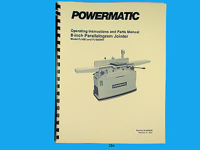 "Powermatic Model PJ-882HH  8"" Parallelogram Jointer Instruct & Parts Manual *284"