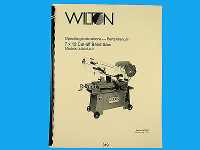 Wilton Model 3400, 3410 Horizontal  Band Saw Op Instruct &Parts Manual *319