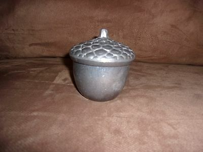 Longaberger Falling Leaves Metalware Acorn Dish with Candle - Made in USA