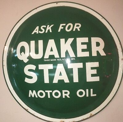 Vintage Original Quaker State Motor Oil Button Advertising Sign