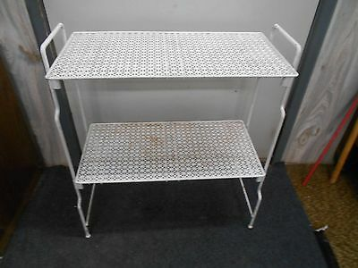 vintage metal mesh chippy paint shabby cottage 2 tier plant stand end table chic