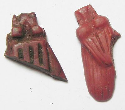 Zurqieh - Af2263- Ancient Egypt. 2 Fly Amulet Fragments. Red Jasper. 1400 B.c