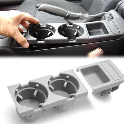 1x Gray Center Console Coin Tray Box+Cup Holder For BMW E46 3 Series 1998-04