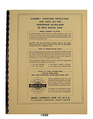 Sears Craftsman 113.29440 Accra-Arm 10 Inch Radial  Saw Op & Parts Manual #1499