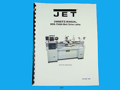 Jet   BDB-1340A Belt Drive  Lathe  Owners  Manual *217