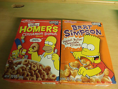 THE SIMPSONS Limited Edition Cereal Unopened Boxes - 2001 Bart and Homer Lot