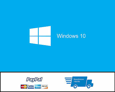 Windows 10 Professional Pro Retail Key 32 64 BIT - 100% - Licenza