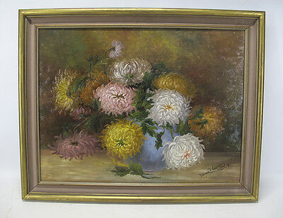Antique 1902 American Impressionism Oil on Board Floral Still Life Painting yqz