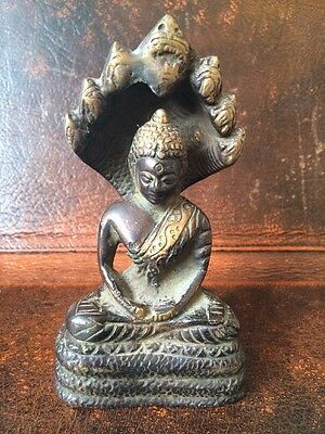 C18th 1700s Antique Cast Bronze Naga Buddha Temple Idol Chinese Indian Art Old