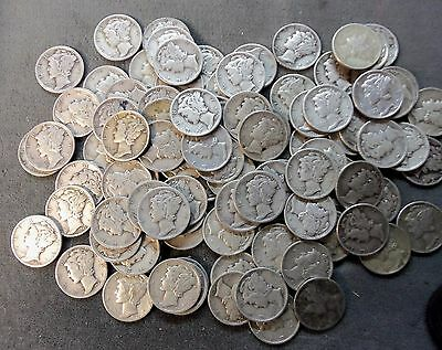 $10.00  2 rolls  circulated      Mercury Dimes 90% silver