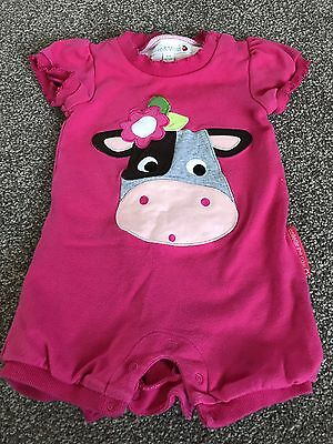 Baby Girls 3-6 Months Pink Collette The Cow Summer Romper / All In One Outfit