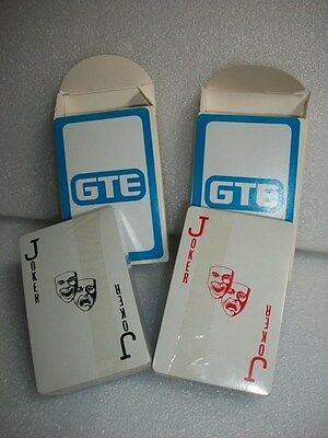 Lot of 2 Vintage 1970's GTE Playing Cards NIB Telephone Company Advertising