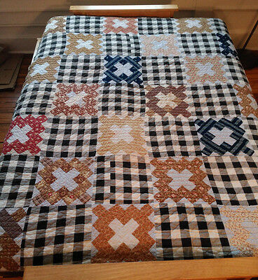 Antique Quilt Chimney Sweep Patchwork Hand Stitched Post Civil War 1860-1890
