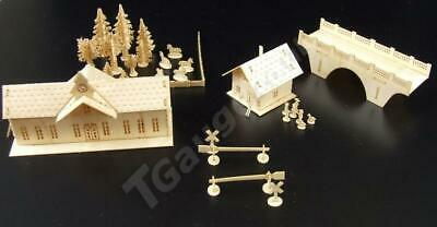 T Gauge 1:450 Scale Train Station and House Kit
