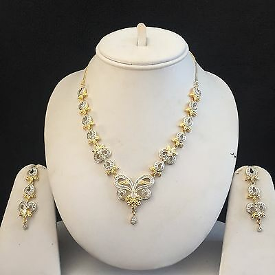 Clear Gold Costume Jewellery Necklace Earrings American Diamond Set Bridal New 8