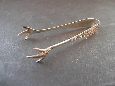 Vintage Silver Plated  Claw Sugar Tongs / Nips. Pattern On Arms 9.00 Cm