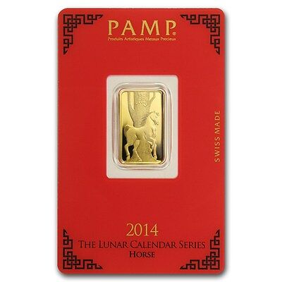 PAMP SUISSE 2014 Year of the Horse 5g (gram) Gold Bar .9999 PURE
