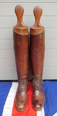 Superb Antique Vintage Leather Cavalry Officer Riding Boots With Wooden Trees