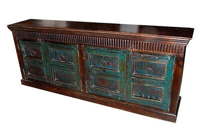 Antique Doors Teal Vintage Sideboard Buffet Hand Carved Chest Console Eclectic
