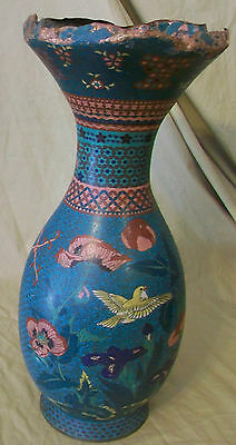 Antique Copper Japanese Cloisonne Meiji Era Vase circa 1880 Hand Painted