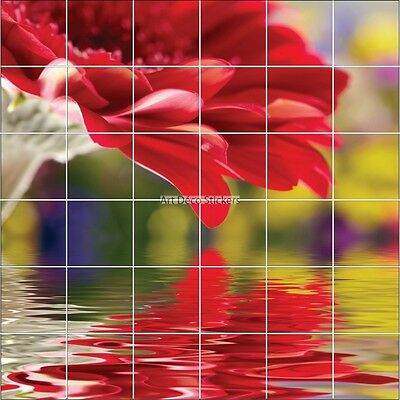 Stickers Tile Wall Deco Flower Red 1954