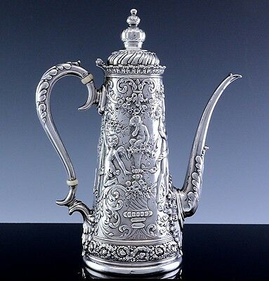 Extremely Rare Tiffany & Co Sterling Silver Olympian Figural Repousse Coffee Pot