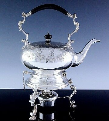 GORGEOUS LARGE c1910 BIRKS STERLING SILVER TIPPING TEA KETTLE ON WARMING STAND