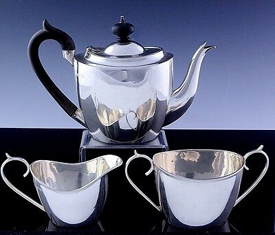 RARE 1909 EDWARDIAN ENGLISH STERLING SILVER BACHELOR SIZE TEA FOR 1 3pc TEA SET