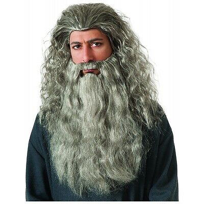 Gandalf Wig & Beard Adult The Hobbit Halloween Costume Fancy Dress