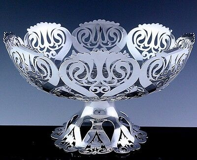 Gorgeous Large 1907 Edwardian Chester Sterling Silver Pierced Centerpiece Bowl