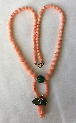 Old Vintage Chinese Angel Skin Coral Beads Jade Flower Choker Necklace.