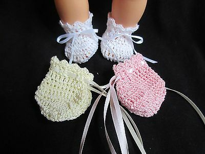 """Lot Of 3  Crocheted Booties For 14"""" Vintage Betsy Wetsy Baby Doll"""
