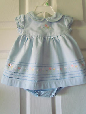 Carter's Adorable Blue Floral Embroidered Trim Baby Girls Dress Size 3 Months