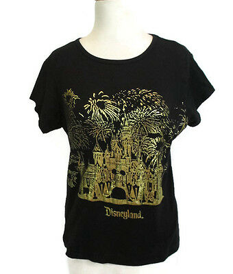 Disneyland Women's T-Shirt 50 Years Gold and Black XL Fitted Baby Doll Castle
