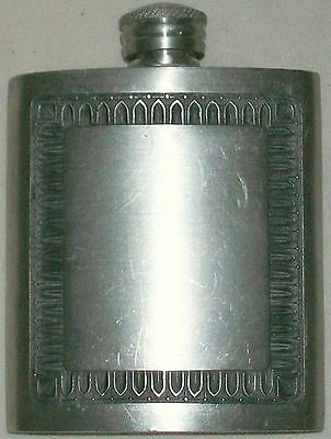 Vintage Siam Thailand Pewter Hip Flask With Cap Blank Used Good Condition