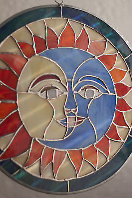 Sun Moon Face Eclipse Tiffany Style Stained Glass Window Handcrafted Suncatcher