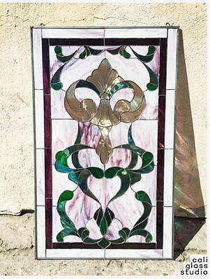 Tiffany Style Stained Beveled Glass Window Panel Rococo Baroque Victorian Swirls